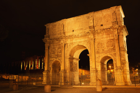 Arch of Constantine at the Roman Forum in Rome at night, Italy