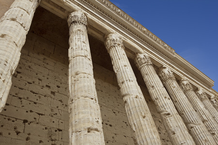 Italy Europe ancient roman pantheon temple front view at classical columns portico colonnade, Rome