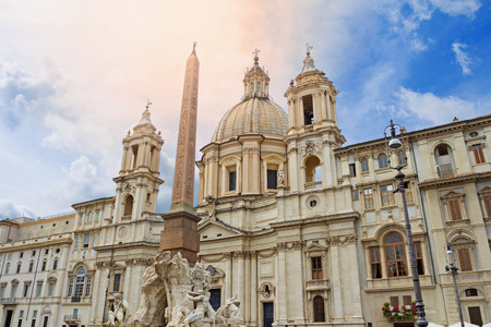SantAgnese in Agone Church and Egyptian Obelisk on the Piazza Navona in Rome Italy