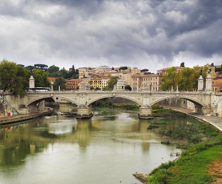View on Bridge Vittorio Emanuele II. Rome, Italy Stock Photo