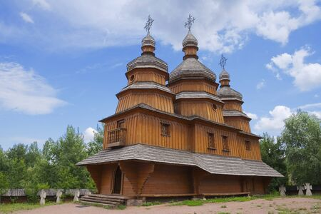 Ancient wooden cossack church at Mamai settlement (Mamaeva Sloboda) in Kiev, Ukraine Stock Photo