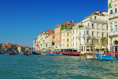 punting: Venice, Italy - 8 September, 2016: The Grand Canal of Venice, Italy
