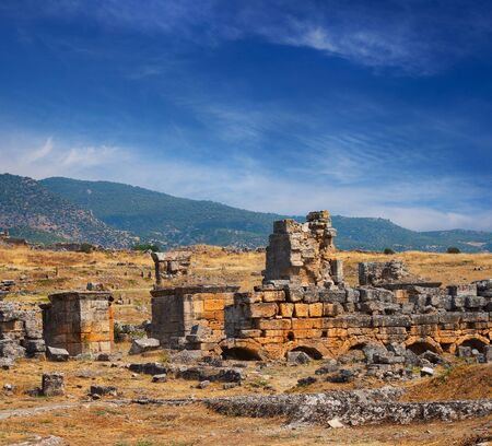 Ruins of ancient city called Hierapolis in Pamukkale near Denizli, Turkey Stock Photo