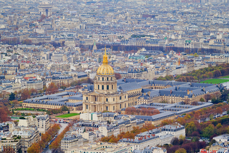 Birds eye view on the National Residence of the Invalids (Les Invalides) - the military museum and the place where are the tombs of Napoleon and his son are located, Paris, France