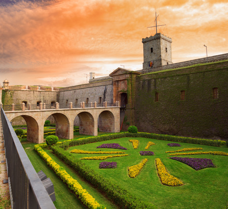 montjuic: View of the entrance to the castle of Montjuic located on Montjuic mountain in Barcelona, Catalonia, Spain Stock Photo