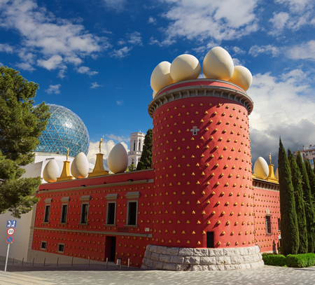 Figueres, Spain - 30 March 2017: Theatre Museum of Salvador Dali in sunny weather over beautiful sky. Museum of Salvador Dali is very popular touristic place in Spain.
