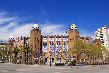 Barcelona, Spain - 26 March, 2017: The Plaza Monumental de Barcelona, often known simply as La Monumental, was a bullring in the city of Barcelona, Catalonia, Spain
