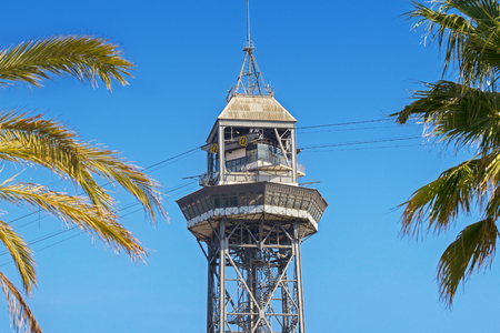 The red port cable in Barcelona.The official name is Transbordador Aeri del Port, but it is often called the Teleferico de Montjuic. Stock Photo