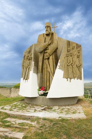 Statue of Petro Sahaydachny in Khotyn, Ukraine Stock Photo