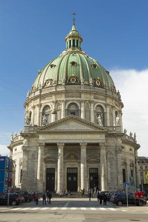 Copenhagen, Denmark - 17 September, 2017: Tourists visiting Frederiks Church in Copenhagen.