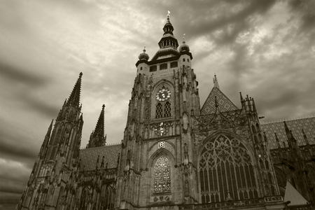Black and white (monochrome) view of St Vitus Cathedral in Prague, Czech Republic