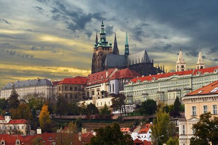 Cityscape of Prague: ancient historic buildings and St. Vitus Cathedral, Czech Republic Stock Photo