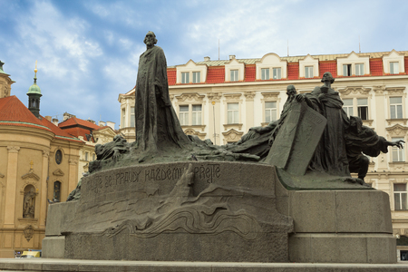 The Jan Hus monument at the old town square in Prague, Czech Republic during day