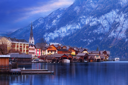 Panoramic view of Hallstatt and the lake Hallstatter See, part of Dachstein-Salzkammergut Cultural Landscape,