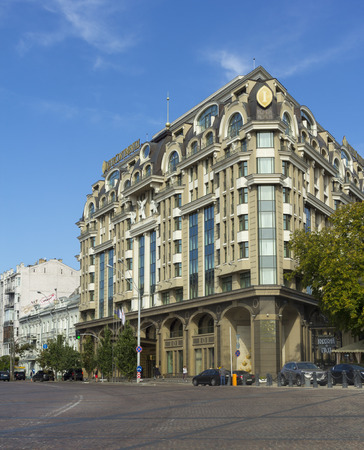 Kiev, Ukraine - 1 September, 2017: Famous luxurious Hotel Intercontinental at St Michael Square. Lots of rich tourists like to stay in this hotel. Editorial