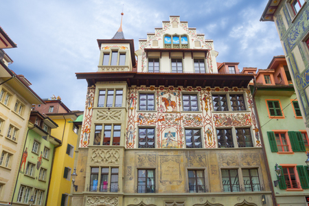 Lucerne, Switzerland - 28 October, 2017: Interesting painted buildings in Lucerne which are the subject of interest for tourists Editorial