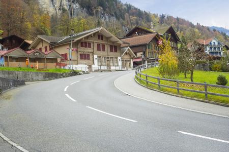 Lautenbrunen, Switzerland - 30 October, 2017: Turning road leading to Trummelbach waterfall at Lauterbrunen Valley