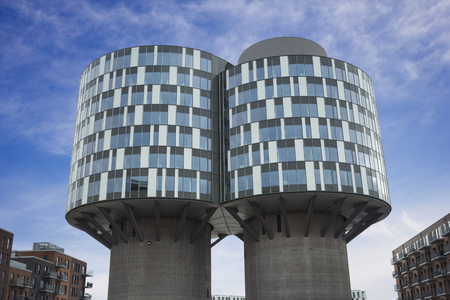 Copenhagen, Denmark - 23 September, 2017: Portland towers are two former Aalborg Portland silos which have been converted into office building in Nordhavn district.