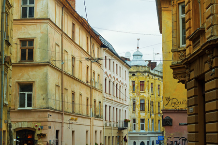 Lviv (Lvov), Ukraine, 15 October 2017: One of the streets of old city of Lviv Editorial