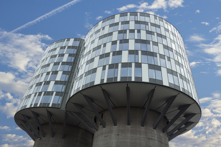 Copenhagen, Denmark - 23 September, 2017: Portland towers are two former Aalborg Portland silos which have been converted into office building in Nordhavn district. Stock Photo - 101712583