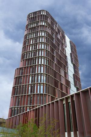 Copenhagen, Denmark - 23 September, 2017: The Maersk tower in Copenhagen, Denmark. The Maersk tower is the faculty of health and medical sciences Editorial