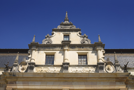 Sinaia, Romania. Architectural detail of the Peles Castle, romanian kings summer residence in Carpathian Mountains.