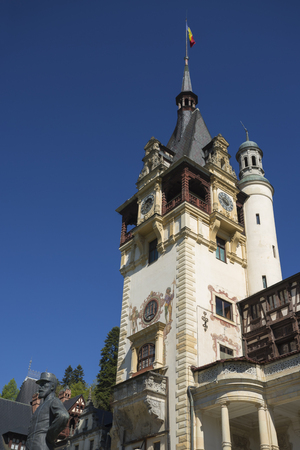Sinaia, Romania - 28 April, 2018: View on the clock tower of Peles castle. Editorial