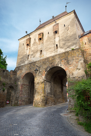Tailors Tower or Great Tower of the Rear Gate in the medieval town of Sighisoara, Mures County, Romania Stock Photo