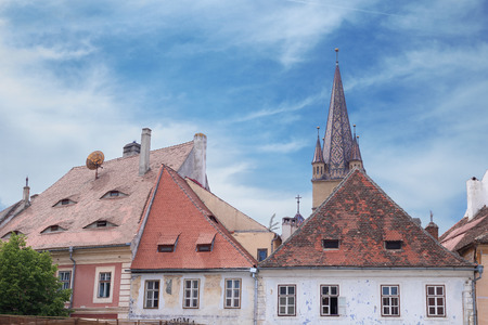 Cityscape of Sibiu: beautiful view on the roofs, Romania