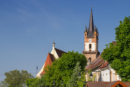 Beautiful view on the Evangelical church tower in Bistrita, Romania