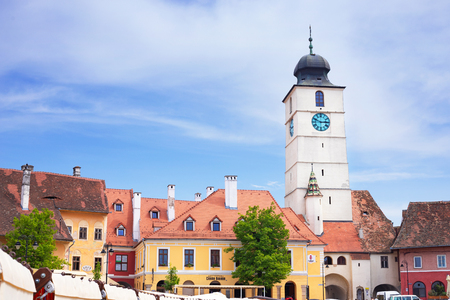 View on Sibiu city and the Council Tower, Romania Stock Photo