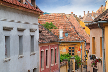 Beautiful view on colorful buildings of Sighisoara, Romania Stock Photo