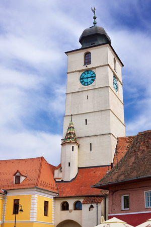 View on Sibiu city and the Council Tower, Romania Stock Photo - 104394560