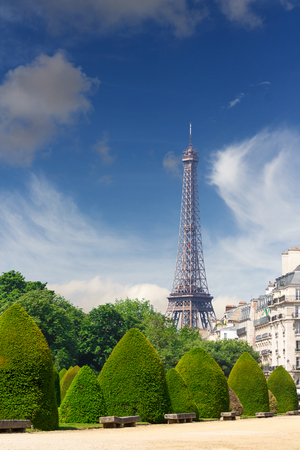 View on the Eiffel tower from the National Residence of the Invalids (Les Invalides) in Paris, France