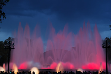Beautiful musical fountain at Montjuic mountain in Barcelona, Spain