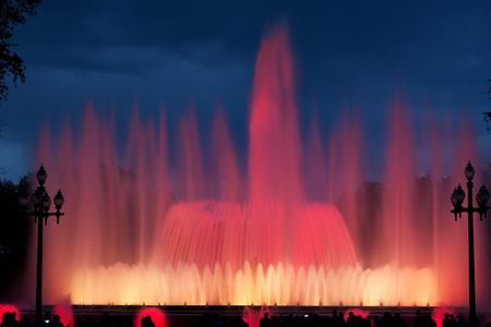Beautiful musical fountain at Montjuic mountain in Barcelona, Spain Stock Photo - 119447964