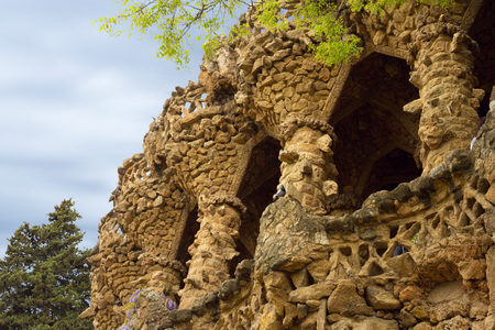 The archs of Park Guell in Barcelona, Spain