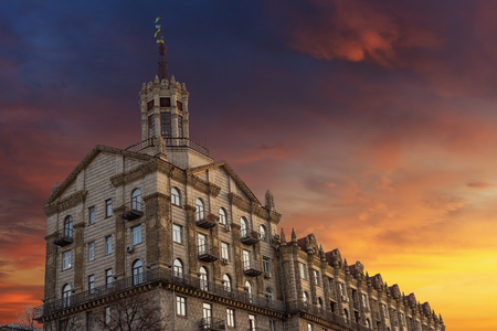 View on the famous house at central street Khreschatyk at sunset in Kyiv, Ukraine Stock Photo - 119448701