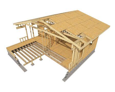 materiales de construccion: imagen tridimensional de una casa de estructura de madera. Imagen conceptual de dibujos animados