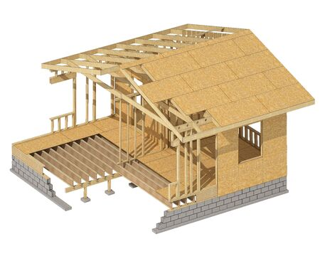 home addition: three-dimensional image of a wooden frame house. Cartoon conceptual image Stock Photo