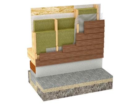wood framing house insulation isolated on white background Stockfoto
