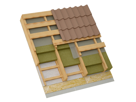 attic: Conceptual image of pitched roof insulation