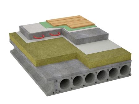 Visualization of concrete floor insulation Stockfoto