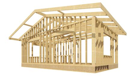 stud: three-dimensional image of a wooden frame house.