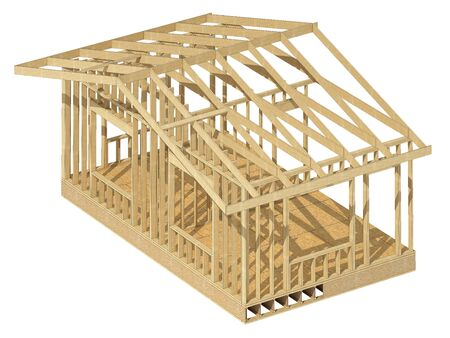 plywood: Close-up look at the construction and all wood framing process of this new home.Three-dimensional image. Cartoon conceptual image