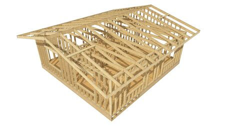 new look: Close-up look at the construction and all wood framing process of this new home.Three-dimensional image. Cartoon conceptual image