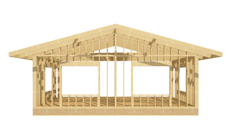 three-dimensional image of a wooden frame house.