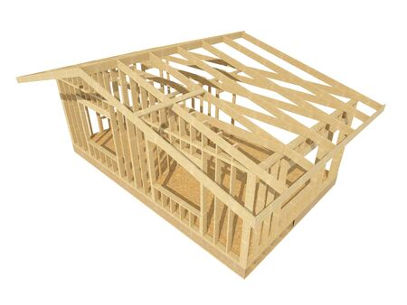 plywood: three-dimensional image of a wooden frame house.