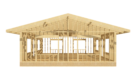 wood frame: three-dimensional image of a wooden frame house.
