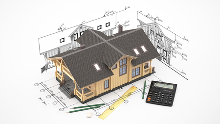 drawings image: The three-dimensional image of a modern wooden house on a background of drawings. Image includes eraser, pencil and calculator. Stock Photo